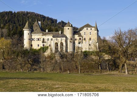 Medieval castle Frauenstein is one of the well preserved late Gothic castles of Carinthia