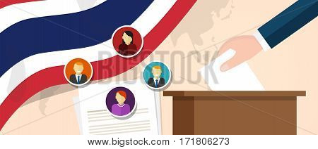 Thailand Thai democracy political process selecting president or parliament member with election and referendum freedom to vote vector