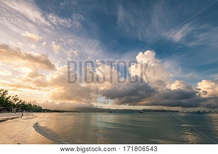 Beautiful sunrise at Boracay beach at Philippines