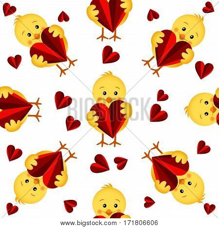 Scalable vectorial image representing a seamless pattern with chicks and hearts, isolated on white.