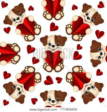 Scalable vectorial image representing a seamless pattern with dogs and hearts, isolated on white.