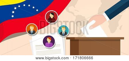Venezuela democracy political process selecting president or parliament member with election and referendum freedom to vote vector