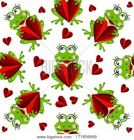 Scalable vectorial image representing a seamless pattern with girls frogs and hearts, isolated on white.