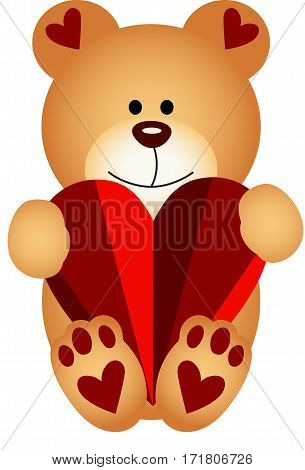 Scalable vectorial image representing a teddy bear holding a heart, isolated on white.