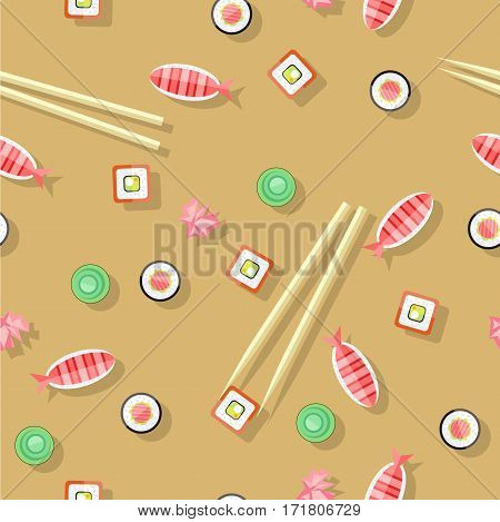 Seamless pattern with salmon fish, wasabi, sushi, sticks. Endless texture with Chinese food. Organic natural food. Consumption of high quality nourishment food. Flat style design. Vector illustration