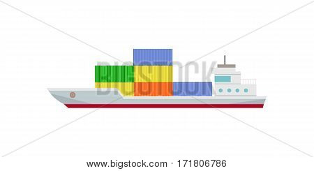 Commercial container ship in flat. Cargo ship with containers. Logistics and transportation of cargo freight ship and cargo container. Isolated object in flat design on white background.