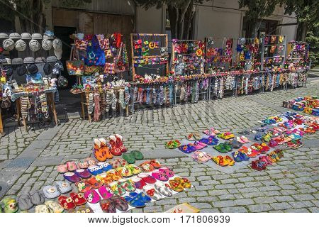 SIGHNAGHI, GEORGIA - May 5, 2016: street trade of souvenirs and folk art products in Sighnaghi, Kakheti region, Georgia on May 5, 2016