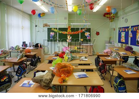 BALASHIKHA/ RUSSIA - SEPTEMBER 1. Decorated classroom for first graders on September 1, 2016 in city Balashikha, Moscow region, Russia.