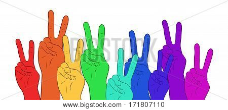 Illustration of multi colored rainbow hands showing peace. Vector element for your creativity