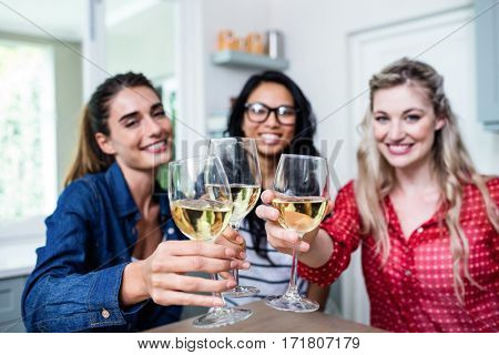 Potrait of happy young female friends toasting wineglass at table in house