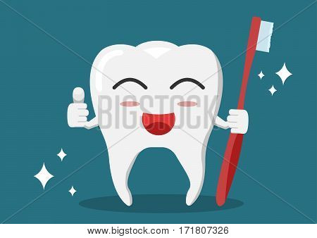 Vector whitening teeth hold red brush and trumbs up whit shining effect.
