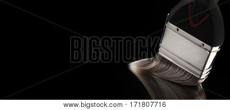 Paint Brush With Bristles Gliding On Smooth Reflective Surface
