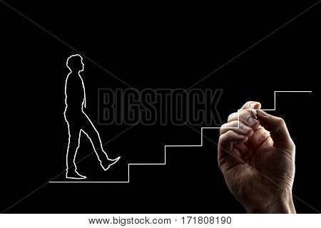 Shape of a man in tie walking up stairs. Hand drawing white lines over black background. Suitable for teamwork and personal growth concepts.