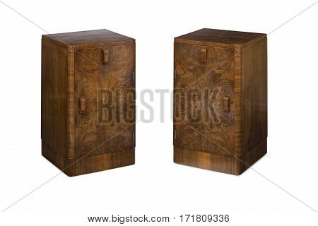 Cut Out Of A Pair Of Antique Wooden Bedside Nightstands