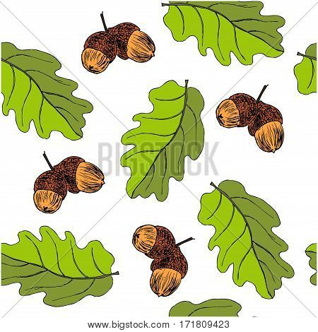 Seamless pattern with oak autumn leaves and acorns. Perfect for wallpapers wrapping papers pattern fills textile autumn greeting cards Thanksgiving Day cards