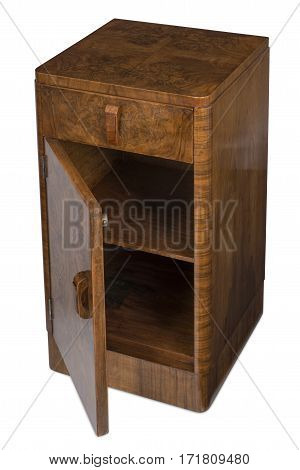 Cut Out Of Vintage Wooden Bedside Cabinet With Door Opened