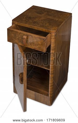 Cut out of an antique bedside nightstande with drawer and cabinet door opened