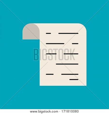 Bill paper vector flat stytle icon. Pay check illustration.