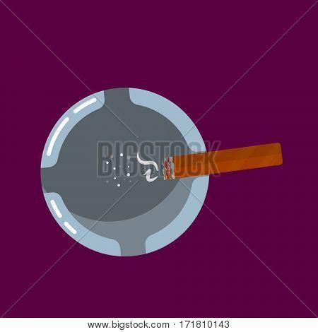 Ashtray with smoldering cigar cartoon vector illustration.