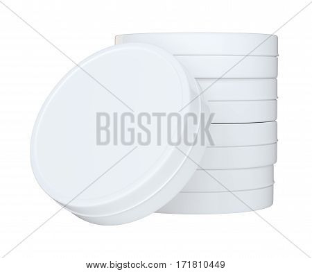 Product Packing. Clean Closed Cream Can With Empty Space for Your Content. On White Background Isolated. For Your Design. 3D Illustration