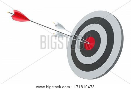Target and arrows, isolated on white. 3d rendering