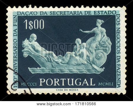 PORTUGAL - CIRCA 1954: A stamp printed in Portugal shows allegorical sculptural relief of the Ship of State, 150th Anniversary of the Foundation of the State Department of Business Finance, circa 1954