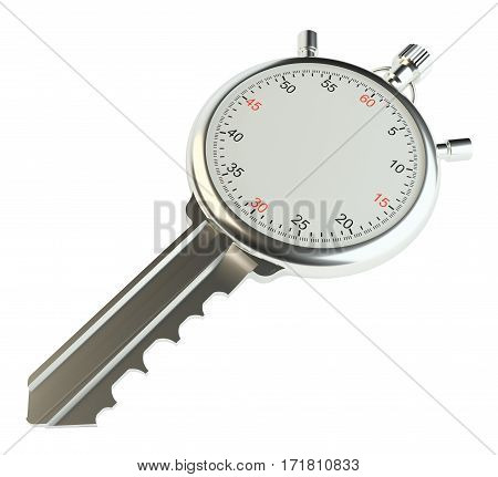 Key with stopwatch. Empty space on clock face for your content or arrows. 3d illustration. Isolated on white. Template for your design