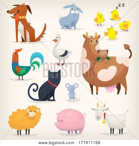 Set of popular colorful vector farm animals and birds