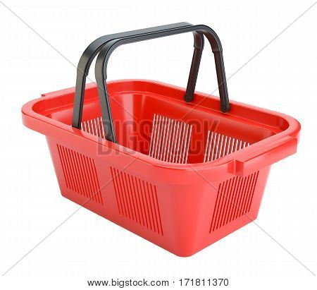 Empty shopping basket isolated on white background. 3D Rendering