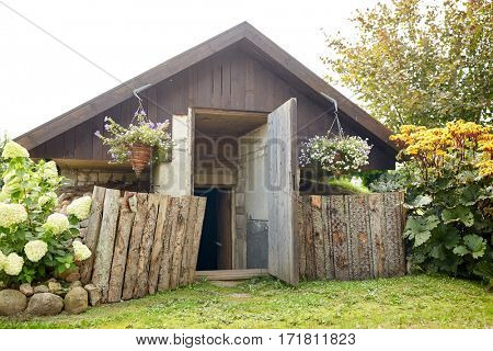 village and rural concept - country house or bathhouse