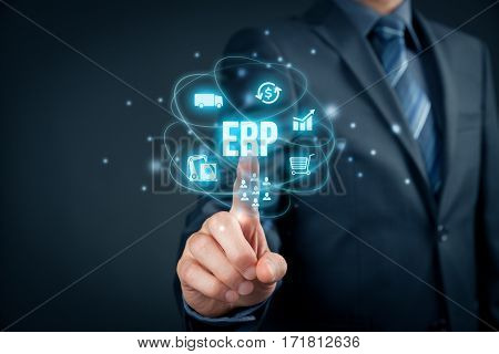 Enterprise resource planning ERP concept. Businessman click on ERP business management software button for collect store manage and interpret business data about customers, HR, production, logistics, financials and marketing.