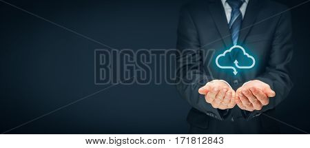 Cloud computing concept - connect to cloud. Businessman or information technologist with cloud computing icon.