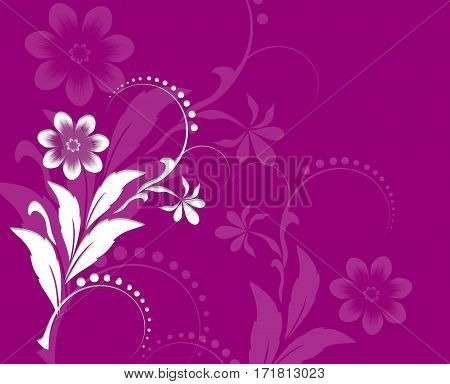 Pink Spring Floral Ornament. Beautiful Background with white paper cuted Flowers. Trendy Design Template. Raster Illustration