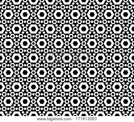 Vector seamless pattern. Modern monochrome geometric texture with simple figures, perforated hexagons. Repeat tiles, endless backdrop. Black & white abstract background. Decorative design element