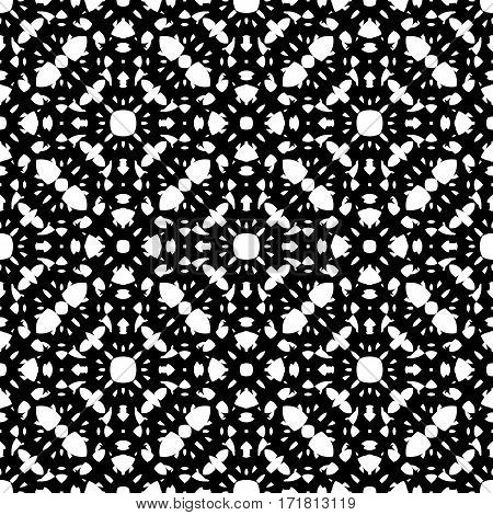 Vector monochrome seamless pattern, repeat ornamental backdrop, oriental style. Abstract black & white mosaic background. Dark geometric specular texture. Design for prints, textile, decoration, digital