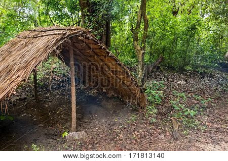 Typical house of vedda people living in Sri Lanka
