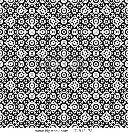 Vector monochrome seamless pattern, subtle geometric texture. Black & white abstract background, traditional motif, stylish ornamental backdrop. Design for prints, decoration, textile, furniture, web