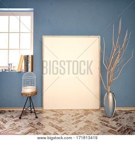 3d illustration interior hipster. installation with frame and stool. frame mock up