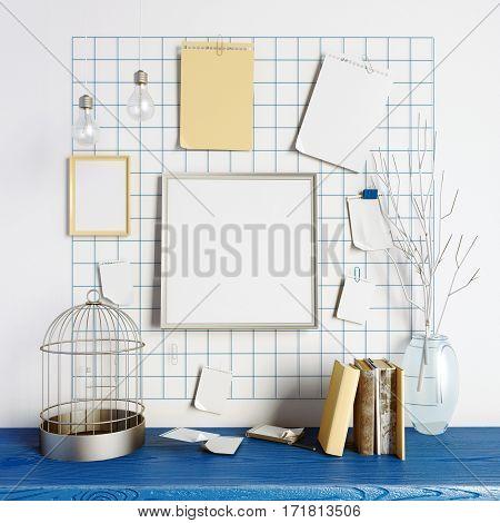 3d illustration workplace. loft style.frame mock up