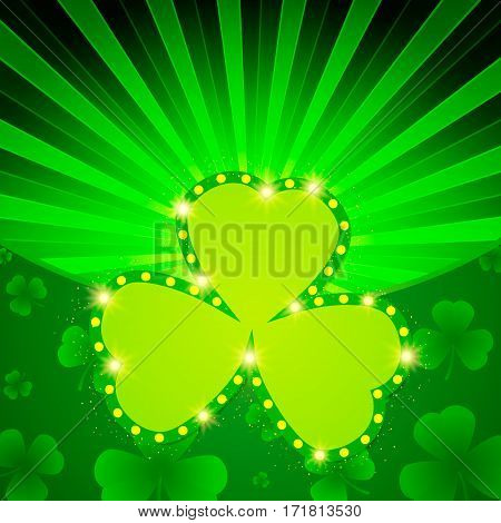 Happy St.patrick's Day With Shining Shamrock Background