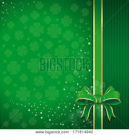 Green festive background with ribbon, bow and leafed clover for St. Patrick's Day. St. Patrick's Day background with free space for text. Template for creating flyers, leaflets, banners, posters