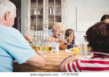 Smiling granny and granddaughter while sitting at dining table with family