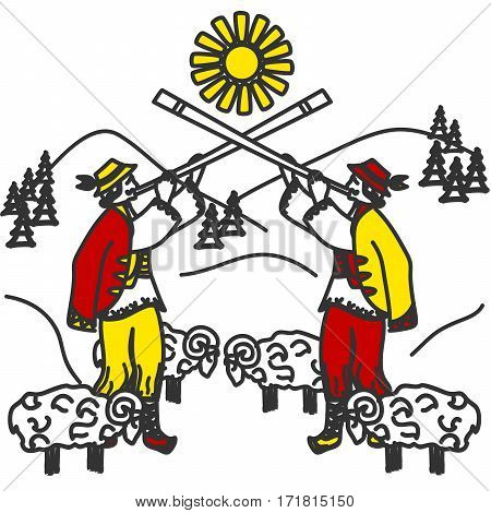 illustration of the Carpathians and the men in the Ukrainian style.