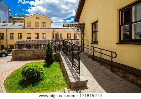 Minsk Belarus Street Revolutionary old architecture a fragment of the street 10/06/2015 Editorial