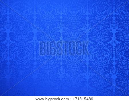 decorative blue old vintage textile wall paper background