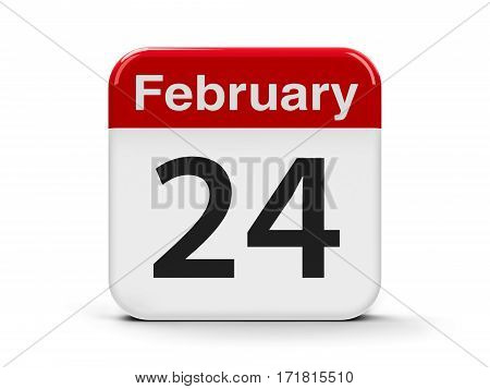 Calendar web button - The Twenty Fourth of February - Flag Day in Mexico three-dimensional rendering 3D illustration