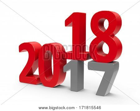 2017-2018 change represents the new year 2018 three-dimensional rendering 3D illustration