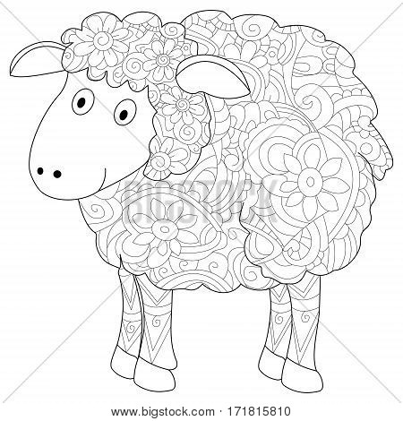 Ram animal coloring book for adults vector illustration. Anti-stress coloring for adult herbivorous. Zentangle style. Black and white lines. Lace pattern lamb