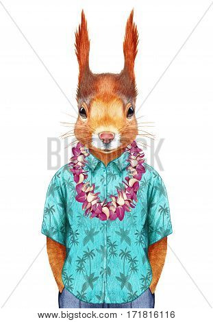 Squirrel in summer shirt with Hawaiian Lei. Hand-drawn illustration, digitally colored.