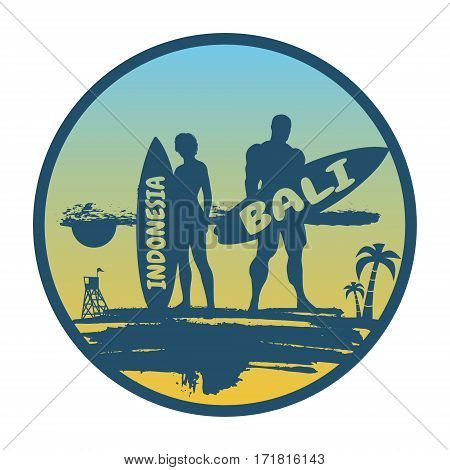 Woman and man posing with surfboard on grunge brush stroke. Monochrome silhouette. Gradient background. Vintage Surfing Graphic and Emblem. Palm and lifeguard tower on backdrop. Indonesia Bali text